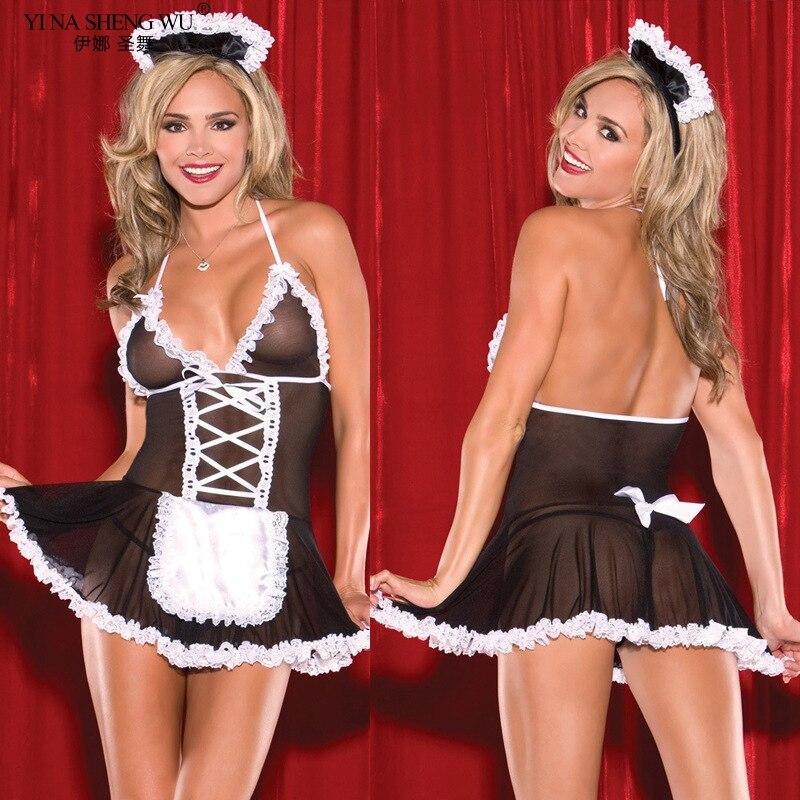 H2449e05712404243a5e261fa925706b69 Sexy disfraces de mujer Cosplay dama uniforme Sexy fina lencería Sexy de encaje picante perspectiva Babydoll camisa erótica Lencería para mujeres
