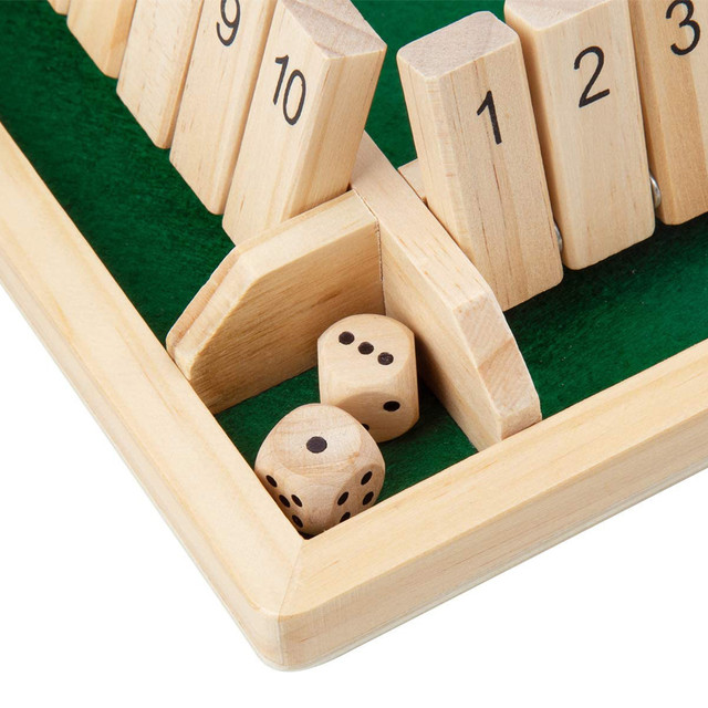 4 Sided 10 Numbers Board Game Wooden Shut The Box Game Family Party Club Ktv Drinking Game For Kids And Adults Educational Toys 4