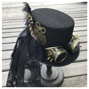 Image 1 - 2019 Fashion Women Handmade Steampunk Top Hat With Gear Glasses and Lace Stage Magic Hat Party Hat Size 57CM Steampunk Hat