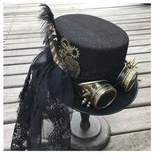 Sombrero Steampunk con tapa hecha a mano para mujer, sombrero mágico con gafas de equipo y encaje para escenario, sombrero de fiesta, talla 57CM, Sombrero estilo Steampunk, moda 2019