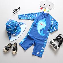 2020 UPF50 + stroje kąpielowe jednoczęściowe dla chłopców Shark z długim rękawem dla dzieci rashguardy strój kąpielowy maluch chłopiec stroje kąpielowe 3-13 lat tanie tanio WYOTURN Pasuje prawda na wymiar weź swój normalny rozmiar Chłopcy Stretch Spandex Cartoon wyfs08 Kids Rash Guard Swimwear