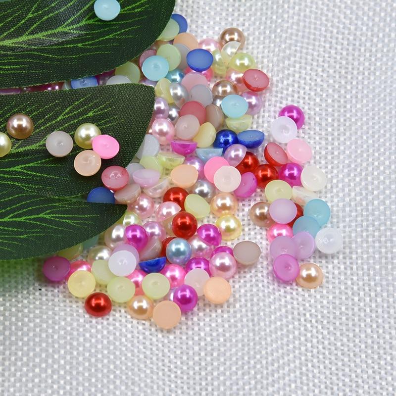 1000Pcs Half Round Flat Back Acrylic Pearl Bead Scrapbooking Embellishment Craft