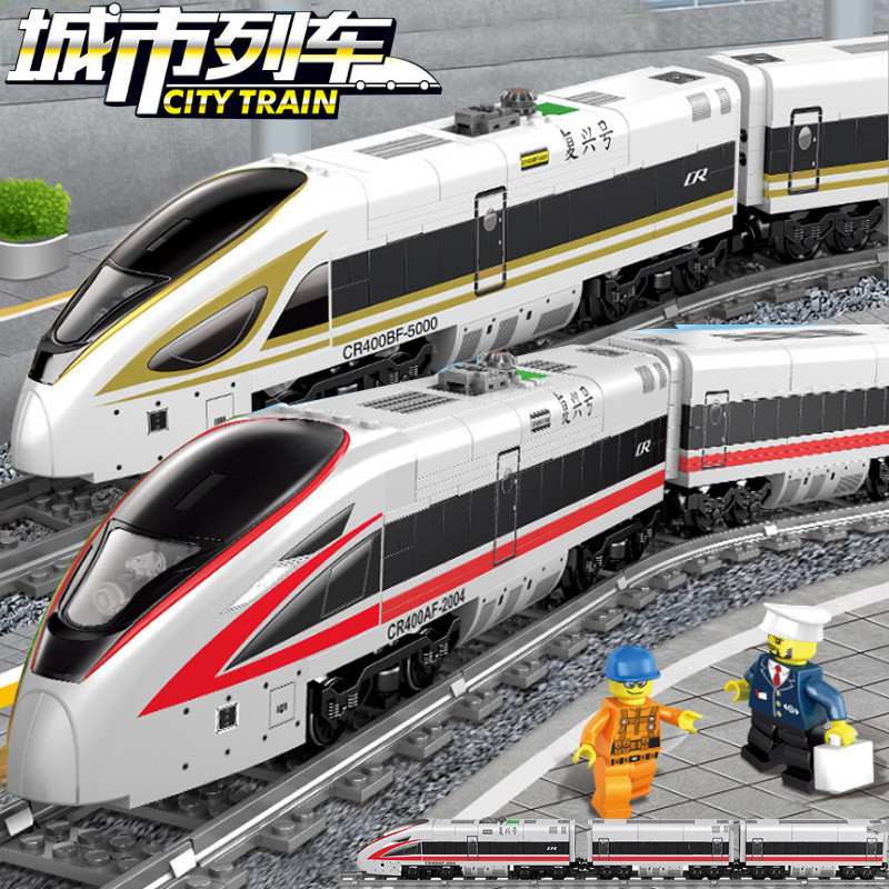 647Pcs Battery Powered Electric Train High-speed Rail City LegoINGLs Building Blocks Technic Juguetes Bricks Toys Lepinblocks