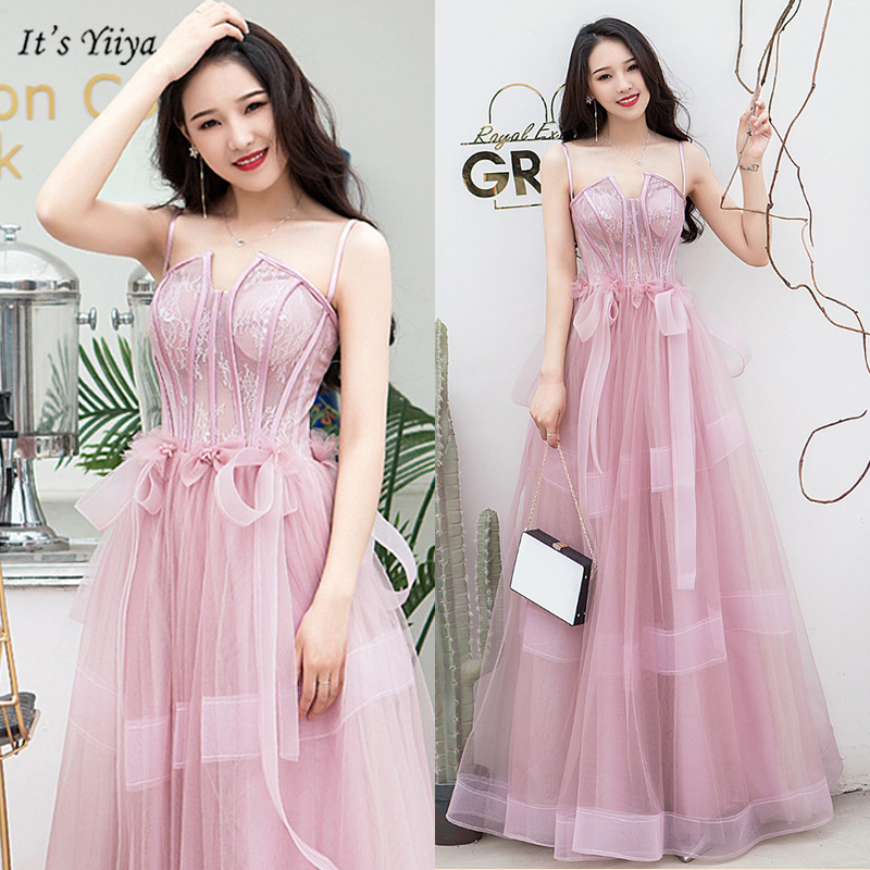 It's Yiiya Evening Dress Square Collar Sleeveless Ribbons Women Party Dresses Spaghetti Strap A-Line Robe De Soiree V158