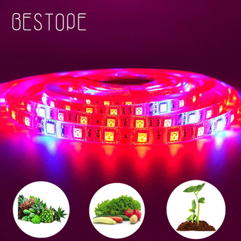 5M LED Strip Plant Grow lights Full Spectrum Flower phyto lamp Waterproof for Greenhouse Hydroponic Growth Light +Power adapter 5m led grow light strip full spectrum uv lamps for plants waterproof phyto lamp red bluetape for greenhouse grow tent hydroponic
