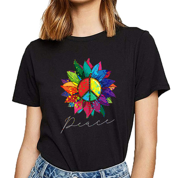 Tops T Shirt Women sunflower flower rainbow peace sign hippie 70s Casual Black Custom Female Tshirt