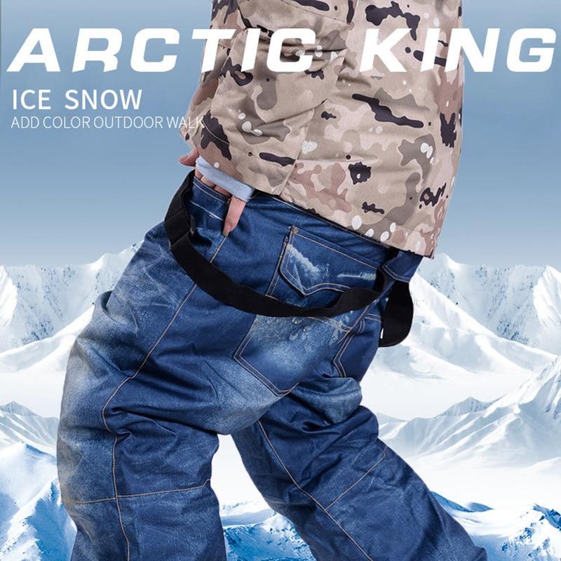 Men Plus Size Winter Jean Ski Pants Trekking Fish Camp Climb Hiking Ski Waterproof Windproof Warm Travel Soft Trousers Outdoor