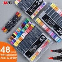 M & G 12/18/24/36/48 צבעים כפול קצה בצבעי מים אמנות סמני אמנות עבור ציור מברשת מרקר עט סט צבע סקיצה עטים צבעוניים צבע-בטושים מתוך ציוד למשרד ולבית הספר באתר