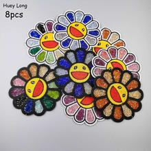 8pcs Suits Sunflowers Seven colors With drill Embroidered Cloth Patch for clothing Patch badge Denim Patch DecorativeAccessories seven silk cloth sunflowers in bunch stylish ornaments decorations yellow green