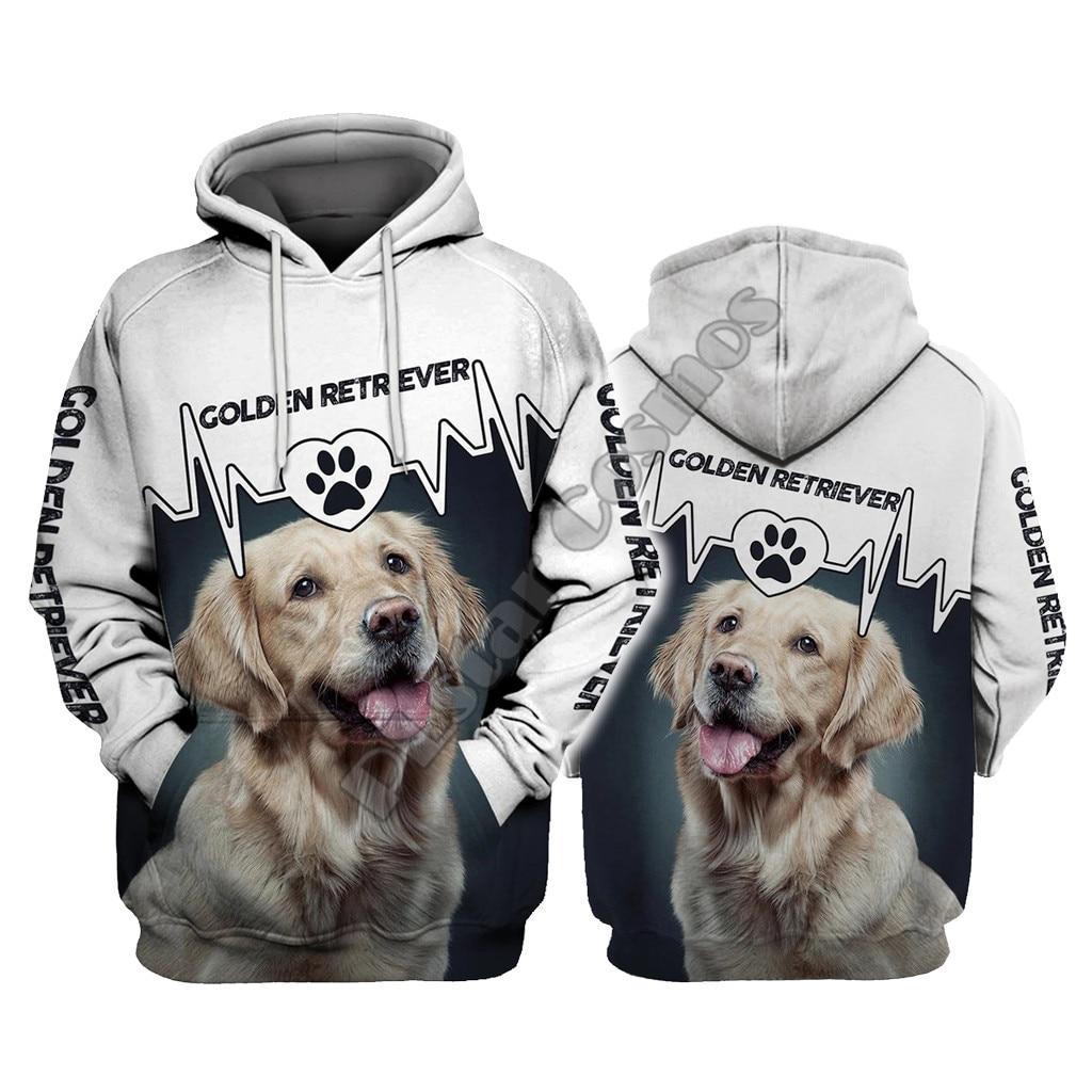 Golden Retriever Heartbeat 3D Hoodies Printed Pullover Men For Women Funny Sweatshirts Christmas Sweater Drop Shipping