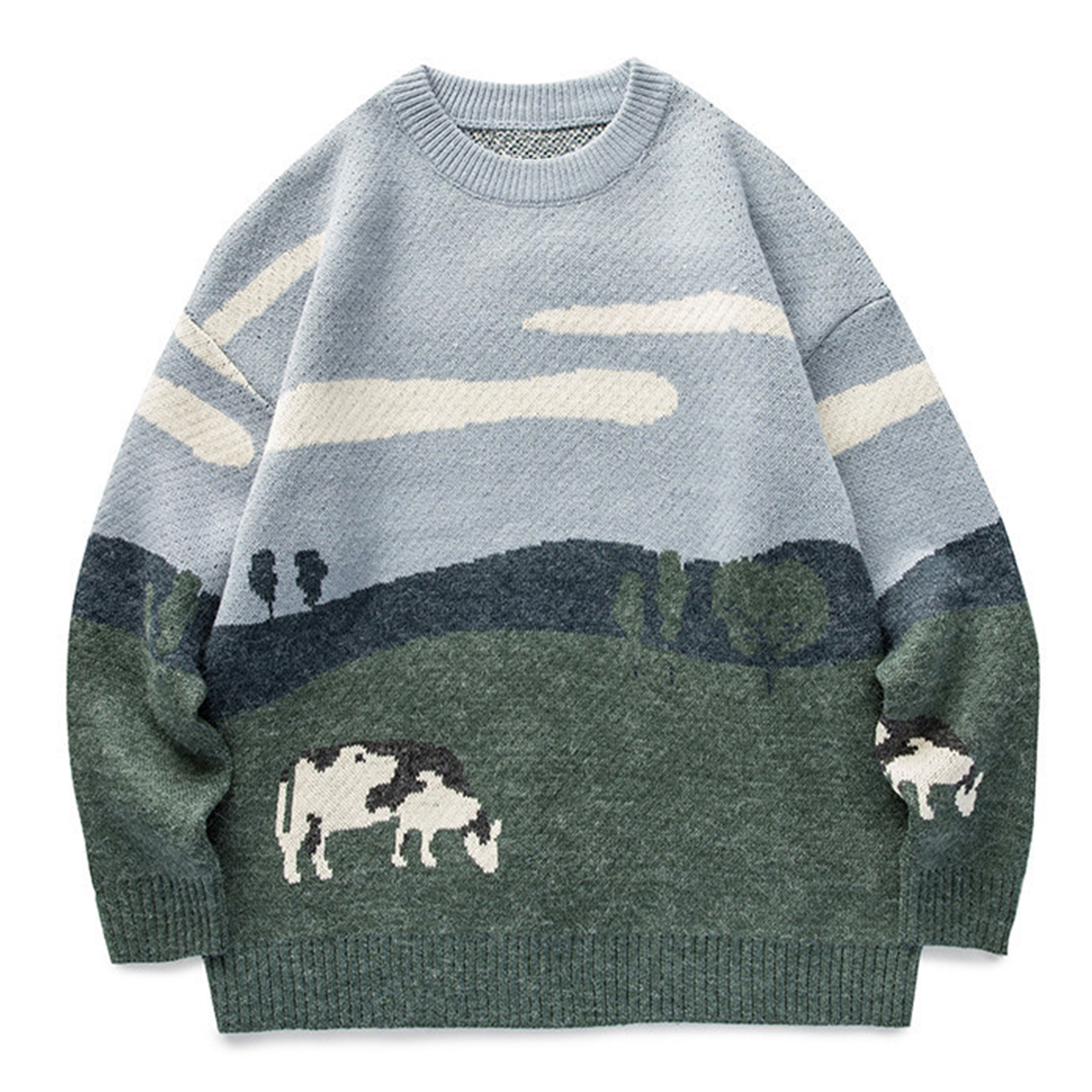 2021 Men Cow Vintage Winter Sweater Pullover O-Neck Korean Knitted Sweater Women Casual Harajuku Couple Knit Streetwear Oversize