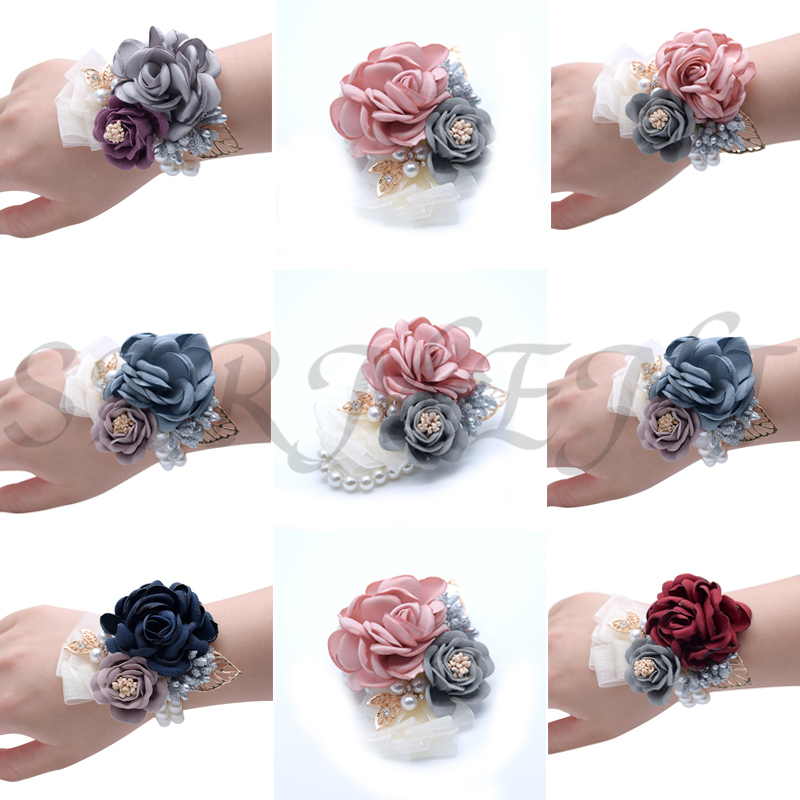 Bridesmaid Bride Wrist Flower Wrist Rose Pink Wine Red Blue Diamond Wedding Accessories Marry Wrist Corsage