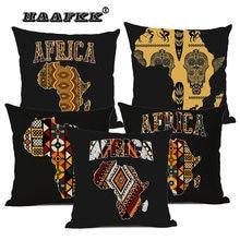 Геометрическая Карта Африки, декоративная наволочка для дивана и дома, скандинавские хлопковые простыни с Африканским узором, шапочка для ...