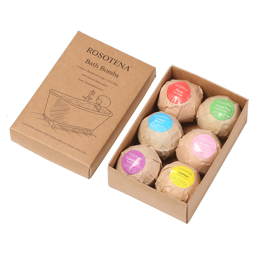 6pcs/pack Bath Salt Soap Bubble Shower Bomb Ball Body Moisturizing Exfoliation Beauty Care Tool