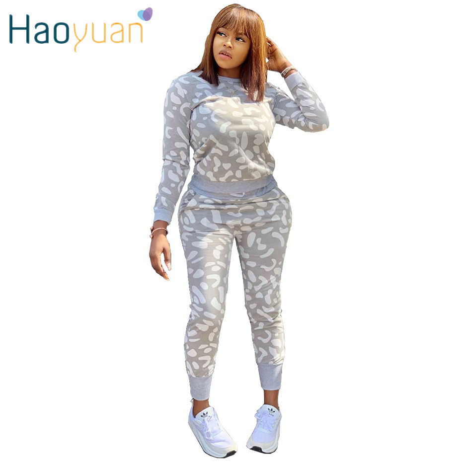 HAOYUAN Fleck Print Two Piece Set Tracksuit Women Fall Clothing Long Sleeve Top+Pant Sweat Suit 2 Piece Outfits Matching Sets
