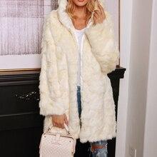2019 Fashion Winter Coat Women Long Jacket Ladies Faux Fur Hoodie Coats Autumn Warm Windproof Outwear Solid Windbreaker