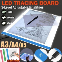 3 Level Dimmable Ultra-thin Led Drawing Copy Pad Board USB A5 Size Painting Educational Toys Creativity for Children Baby
