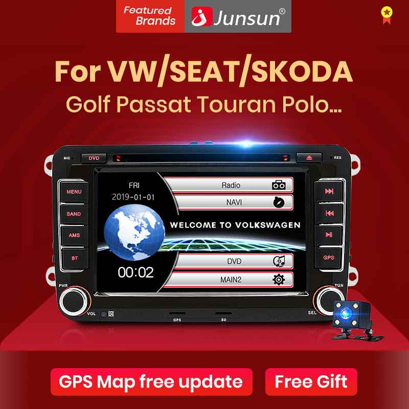 "Junsun 2 DIN 7 ""Car DVD Radio Multimedia Player Autoradio untuk VW Golf 5 Passat B6 Kursi Leon Tiguan POLO Skoda Octavia"