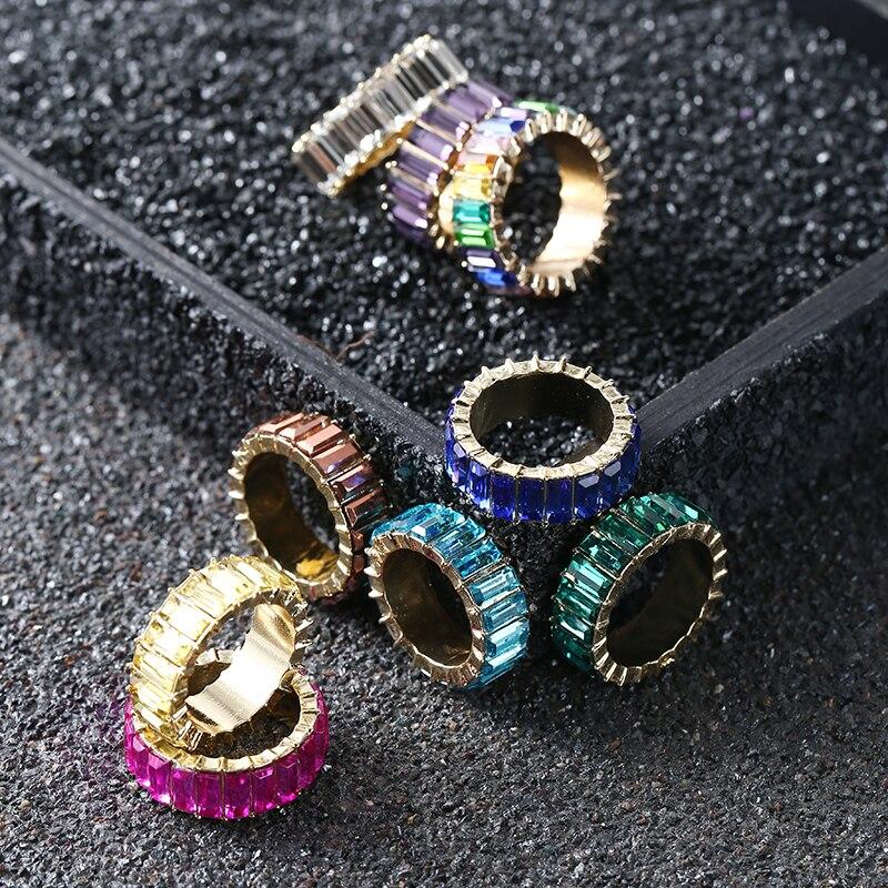 Разноцветное кольцо с кристаллами для женщин, Радужное обручальное кольцо, кольца с кубическим цирконием, женские панковские геометрическ...