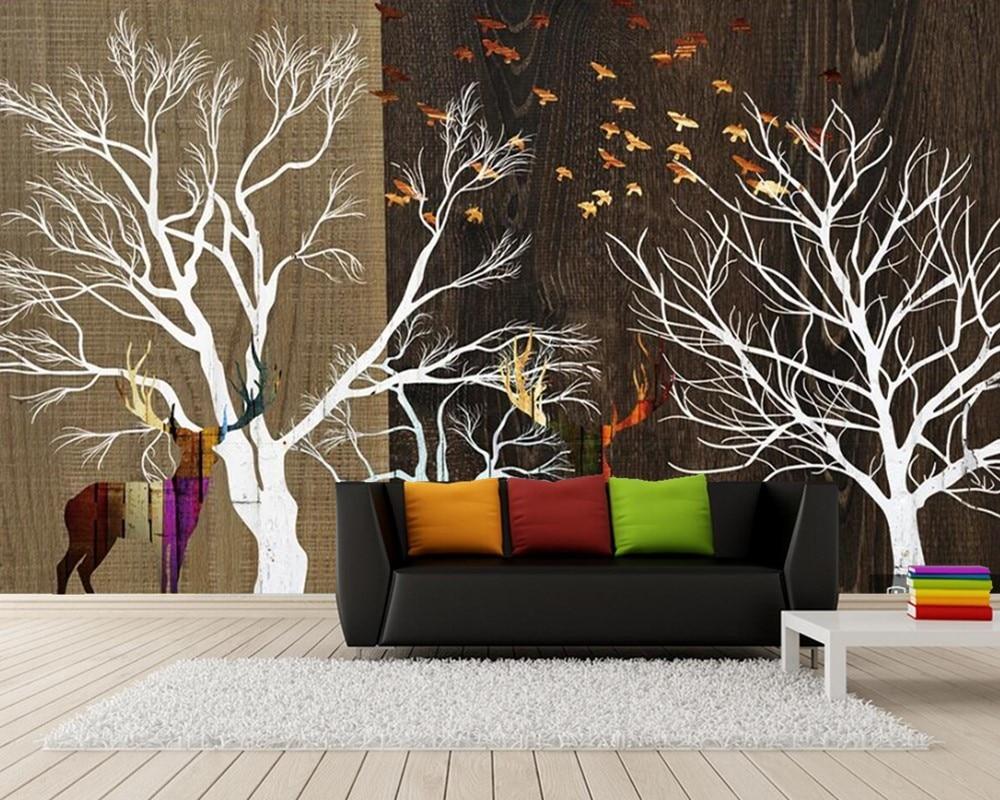Papel de parede nordique abstrait arbres bois grain 3d papier peint mural, salon TV canapé mur chambre papiers peints décor à la maison