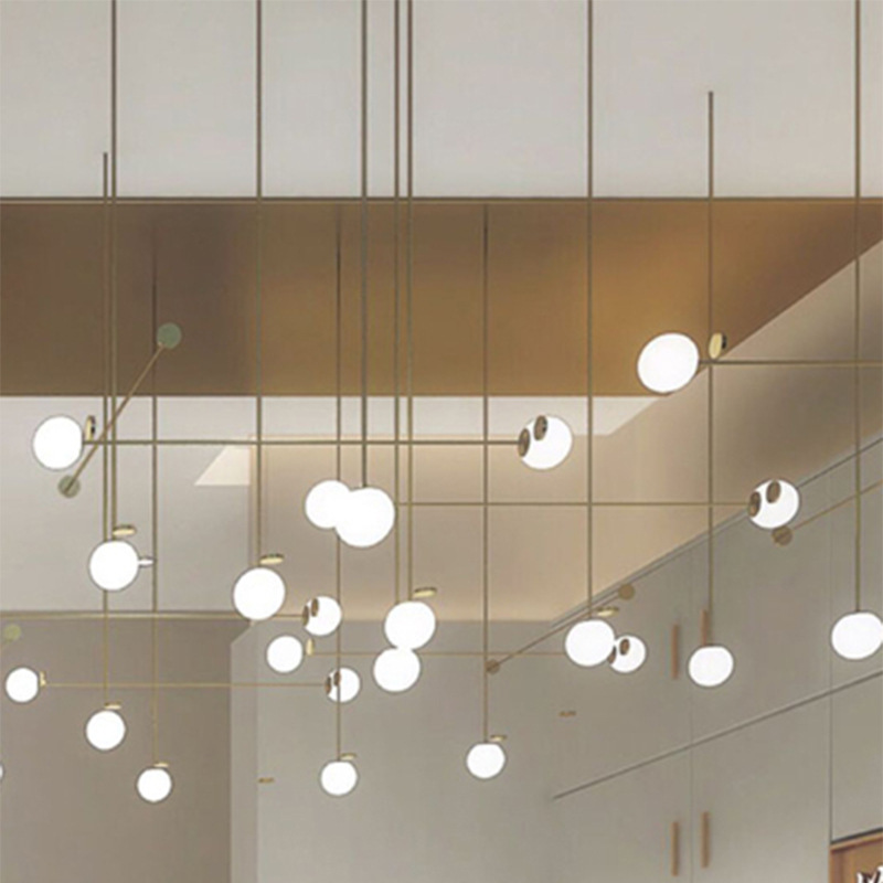 Simple Line Led Chandelier DIY Combination Glass Ball Hanging Light Fixture Living Room Dining Room Bedroom Suspendu Home Decor|Pendant Lights| |  - title=