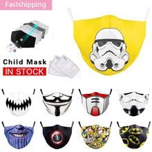 O novo herói impressão criança máscara lavável reutilizável máscara protetora da boca pm2.5 filtro à prova de poeira máscaras unisex criança algodão máscara