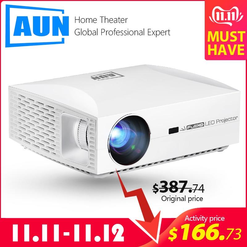 Aun projetor completo hd f30up, 1920x1080 p. Android 6.0 (2g + 16g) wifi, mini projetor led para cinema em casa, suporte 4 k vídeo beamer