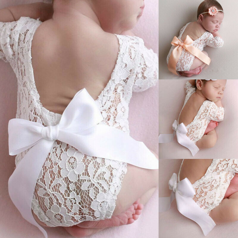 New Born Photography Lace Romper+Baby Headband Photo Clothing Bow Lace Baby Hair Accessories Set Photo Props Newborn