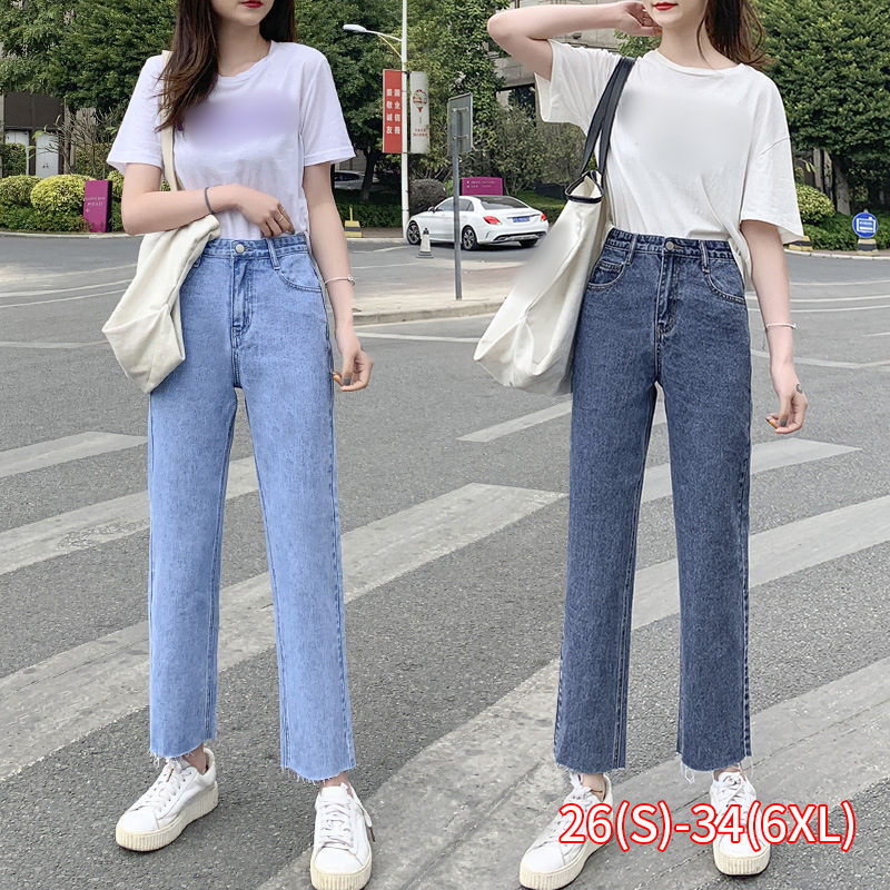 New High Waist Straight Jeans Women Casual Loose Wide Legs Pants Plus Size Denim Lady Pipe Pants Light Blue