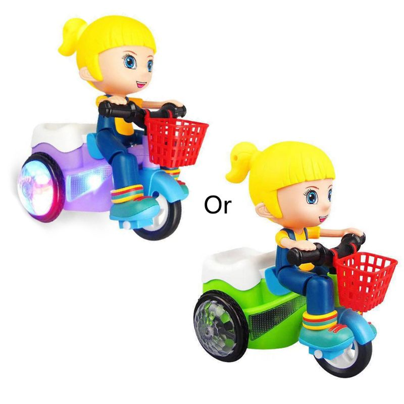 Electric Tricycle Toys 360 Degree Rotating Stunt Bicycle Music Light Kids Toy  NEW