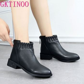 GKTINOO Fashion Women Boots Autumn Boots Genuine Leather Ankle Boots 2019 Winter Warm Fur Plush Women Shoes Big Size 43