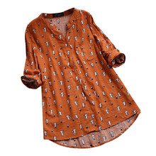 Women Spring half Sleeve Blouse Woman Ladies Cotton Linen Female Casual Shirts Tops Blusa Feminina Plus Size M-5XL