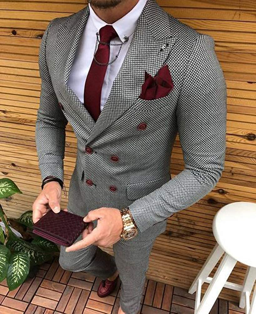 Mens Suit Grey Formal 2 Pieces Slim Fit Double breasted Plaid Soft Wool Tweed Prom Tuxedos Wedding Groomsmen  Blazer Pants