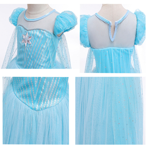Image 5 - Girls Halloween Cartoon Movie Costume With Accessories Cloak Crown Princess Girls Christmas Costume Snow Queen Cosplay Dress