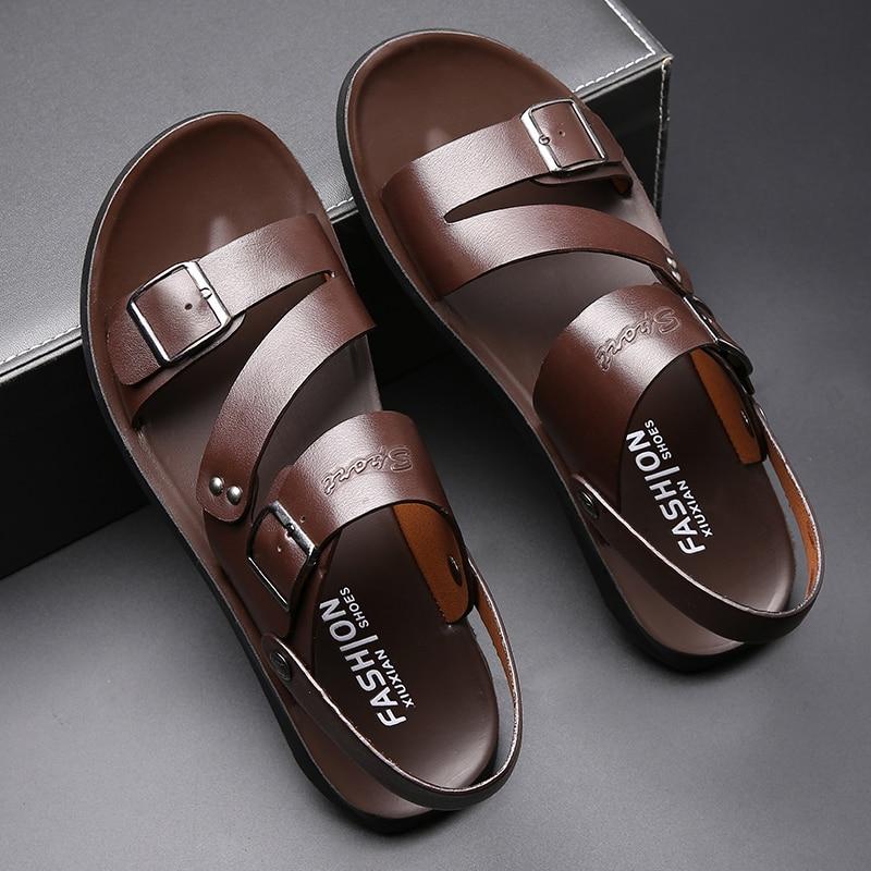 Men Sandals 2020 Leather Genuine Men Summer Shoes Man New Casual Comfortable Barefoot Sandals Men Pentoufle Homme Adult
