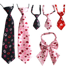 60pcs Valentines Day Pet Accessories PInk Love Pet Dog Neckties Bowties Collar large dog  Pet Cat Dog Holiday Grooming products