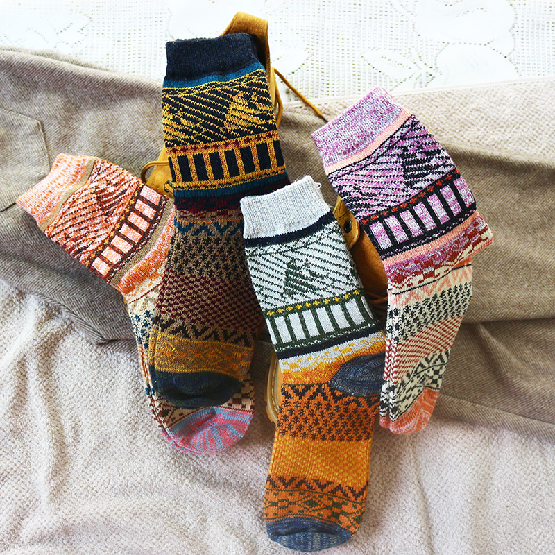 Winter New Men's Thick Warm Cartoon Harajuku Retro Thick Line High Quality Casual Wool Socks 5 Pair