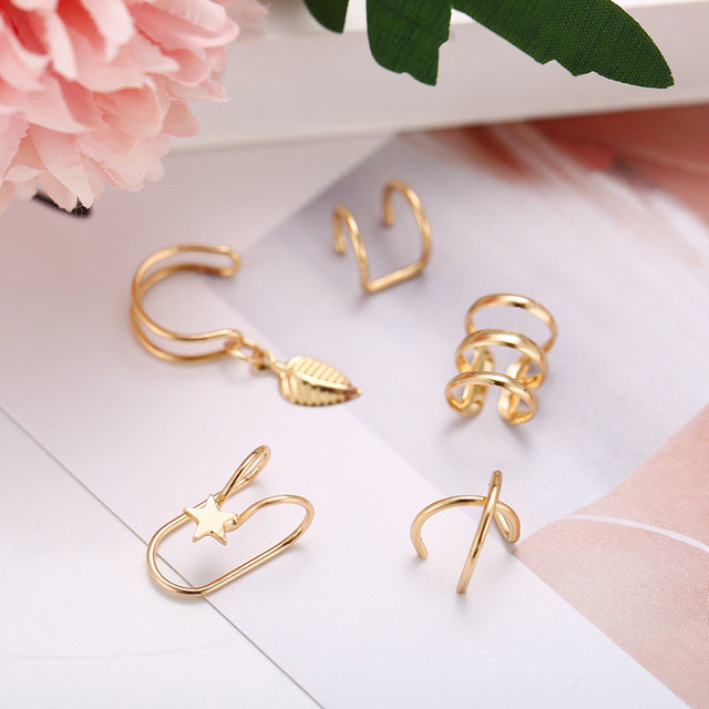 Modyle Fashion Gold Color Ear Cuffs Leaf Clip Earrings for Women Climbers No Piercing Fake Cartilage Earring Accessories Gift 6