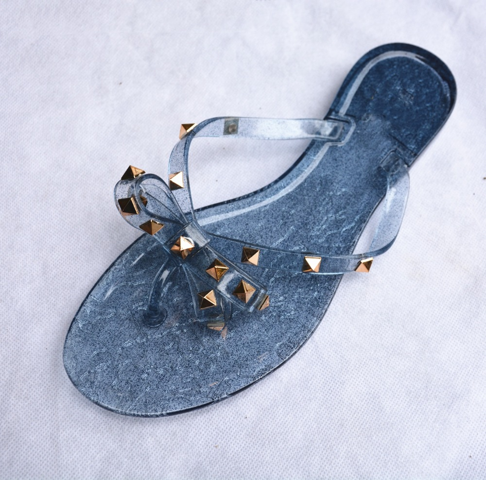 Rivet Bowknot Sandals Summer Woman Beach Flip Flops Jelly Shoes PVC Slides Girls Sandals Slip on Flat with Women Studs Slippers 3