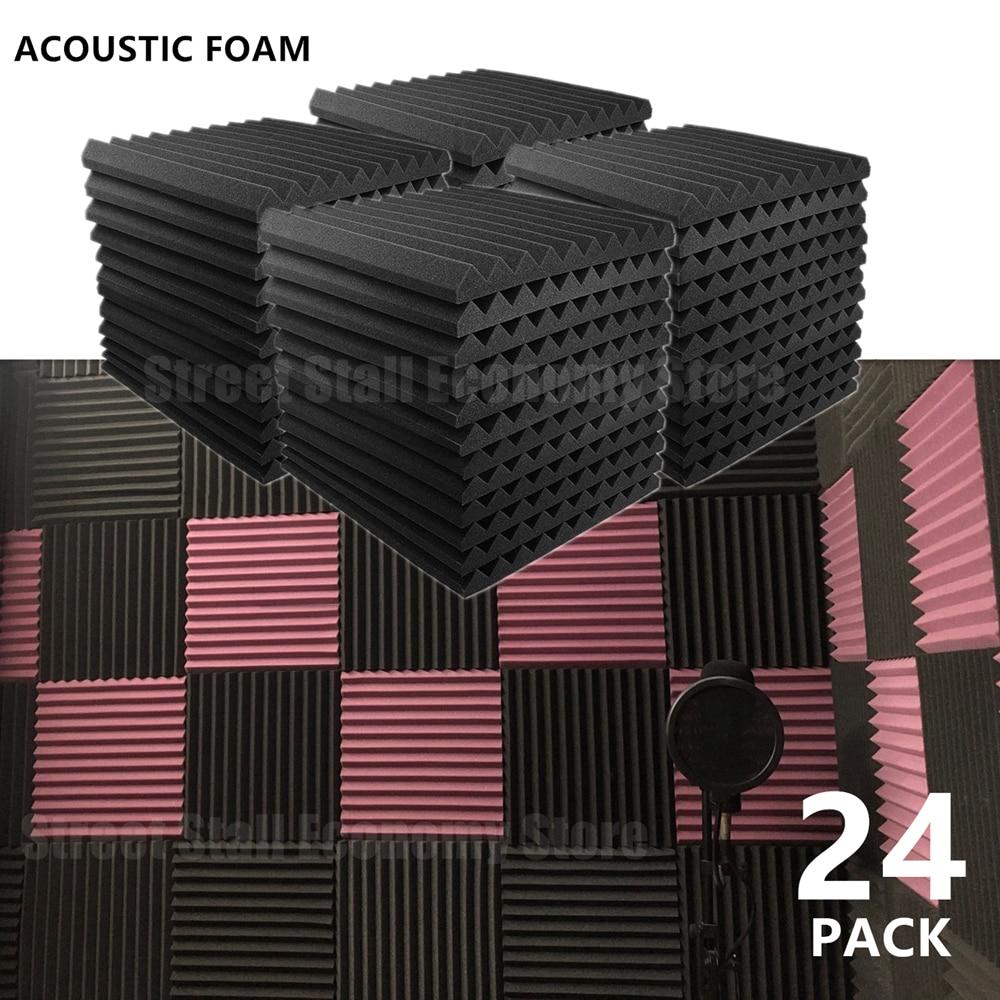 24 шт. 300x300x25 мм акустические пены Звукоизолированные лечения поглощения Панель звукоизоляция студия защитный уплотнение губки ленты