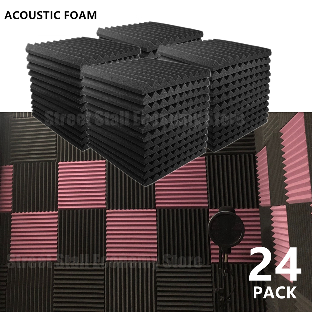 24PCS 300x300x25mm Acoustic Foam Soundproof Absorption Treatment Panel Sound Proofing Studio Protective Sponge Sealing Strip