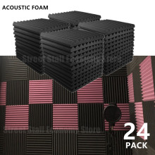 24PCS 300x300x25mm Acoustic Foam Soundproof Absorption Treatment Panel Sound Proofing Studio Protective Sponge Sealing Strip