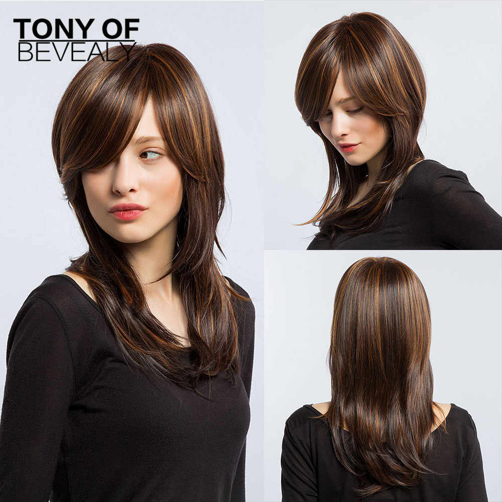 Long Wavy Brown Hair Wigs For Women Wigs Heat Resistant Synthetic Wigs With Bangs for White Women Natural Wigs