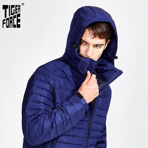 Image 5 - Tiger Force 2020 new arrival men striped jackets with pockets high quality removing hood warm coat outerwear zipper Parkas 50629