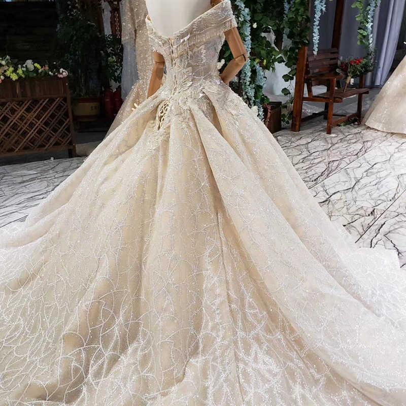 HTL719 יוקרה כדור שמלת חתונת שמלות קתדרלת רכבת v צוואר שמפניה מבריק שמלת כלה עם נצנצים robe דה mariee בוהם