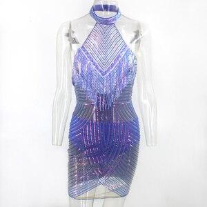 Image 3 - Ceremokiss payetli Halter seksi kadın elbise dantel püskül Mini elbiseler yaz Backless gece kulübü parti Bodycon elbiseler Vestidos