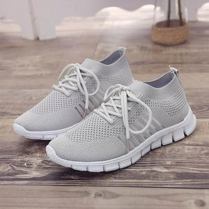 Image 3 - Women Casual Shoes Air Mesh Shoes Solid Shallow Sneakers Slip On Platfrom Shoes Lace up Stretch Fabric Shoes WJ010