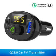 QC3.0 Bluetooth USB Car Charger for Samsung Xiaomi FM Transmitter Car Kit Audio Music Player Dual USB Car Mobile Phone Charger цена 2017