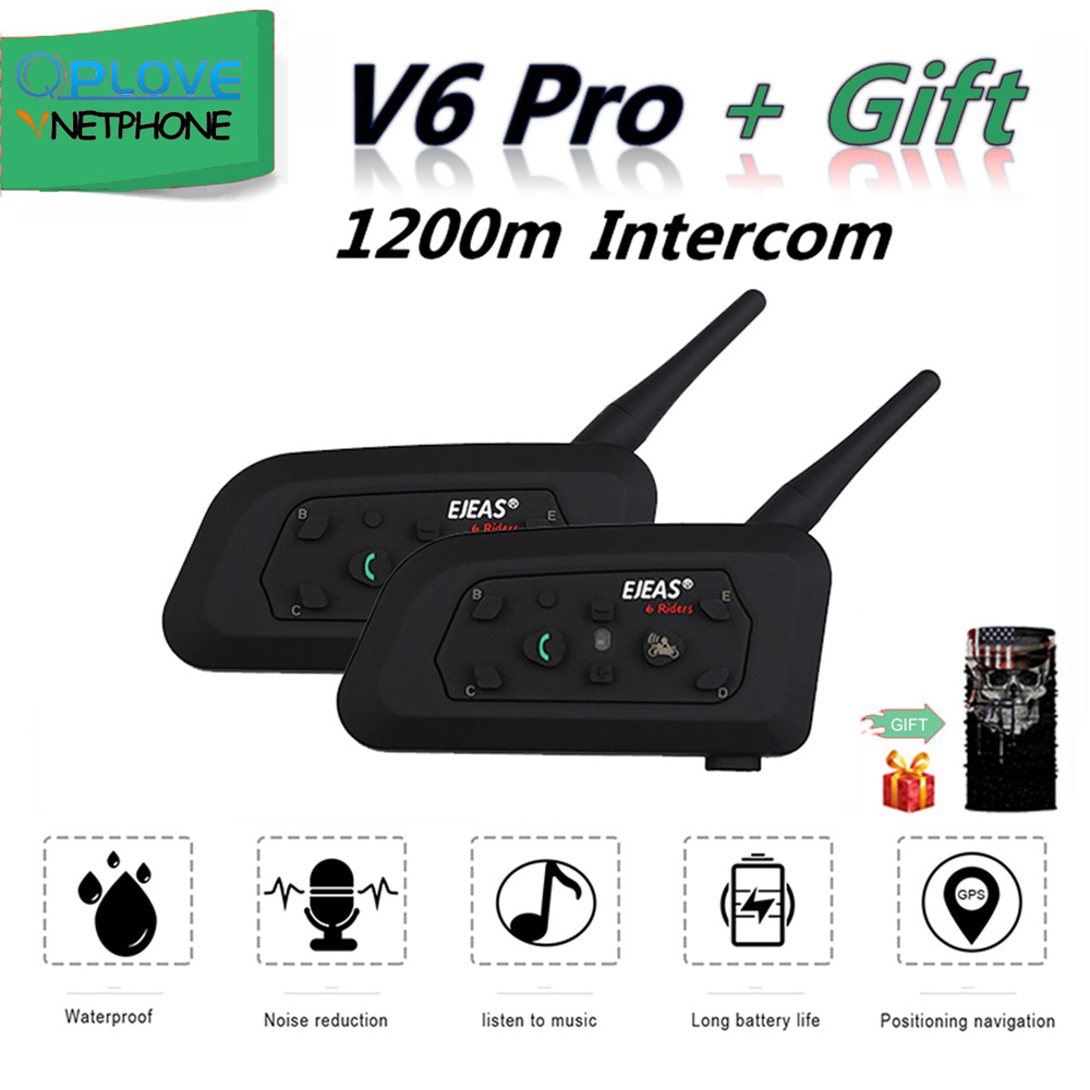 QPLOVE 2pcs EJEAS V6 Pro BT Motorcycle Intercom 1200m Wireless Distance 6 Riders Connection Motorcycle Bluetooth Helmet Headset