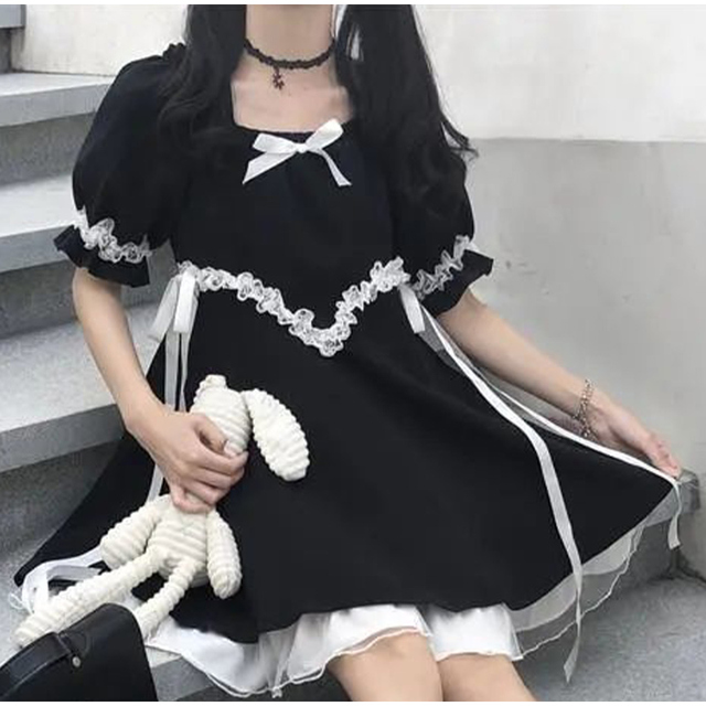 Japanese Summer Kawaii Soft Girly Dress Vintage Square Collar Cute Lace Lace Up Bow Sweety Ruffles Puff Sleeve Dress Black Dress 6